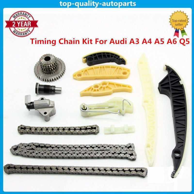 Timing Chain Kit (13 PCS)For Audi A3 A4 A5 A6 Q5 TT Allroad/VW Beetle EOS GTI Jetta Passat Tiguan CC Golf 1.8 2.0 TSI new timing chain kit 13 pcs for audi a3 a4 a5 a6 q5 tt allroad vw beetle eos gti jetta passat b6 tiguan cc 06k109158a 06k109467k