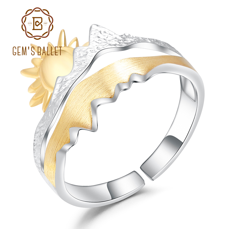 GEM'S BALLET Gold Plated 925 Sterling Silver Wedding Band Ring Handmade Adjustable Open Ring For Men Engagement Jewelry