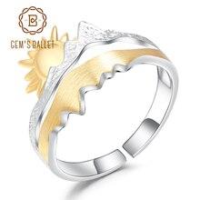 GEMS BALLET anillo abierto Ajustable para hombre, de Plata de Ley 925, anillo de boda hecho a mano, joyería de compromiso