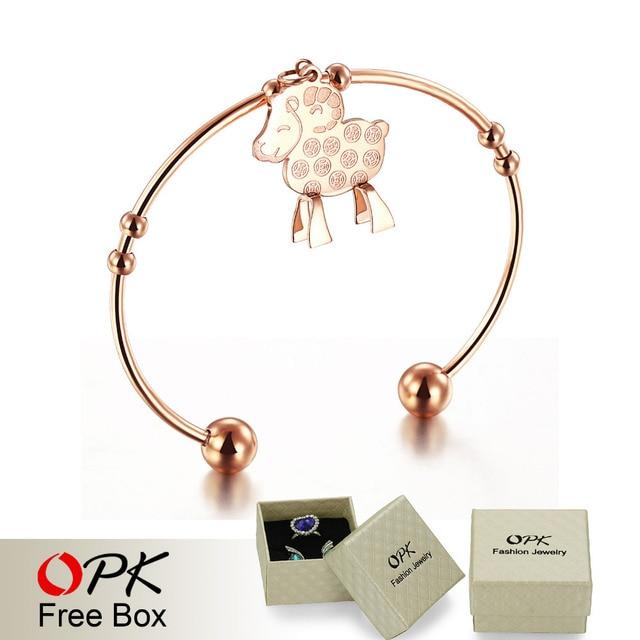 OPK Women Goat Design Cuff Bangles Fashion Trendy Rose Gold