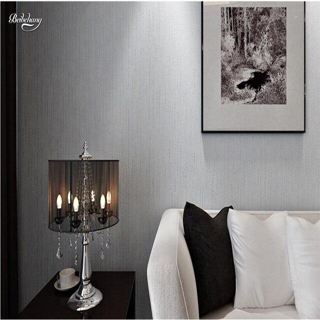 € 29.79 21% de réduction|Beibehang Solide couleur non tissé tissu papier  peint plaine salon chambre moderne simple monochrome TV fond mur obscure  dans ...