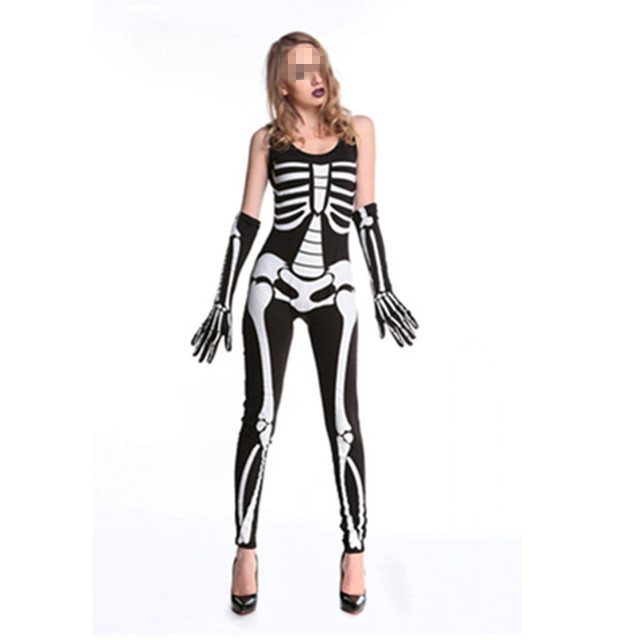 e618bd1b9655 2017 New Sexy Women Skeleton Costumes Black and White Terror Skeleton  Jumpsuit Printed Bone Stage Bodysuit Halloween Costumes