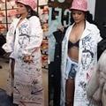 Rihanna Костюмы Harajuku Граффити Хиппи Печатных Мягкий Нажмите Вверх Бюстгальтер + Бикини Короткие + Пуховики, Женщин 3 Шт. этап Бальные