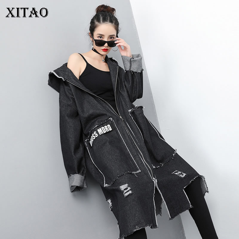 [XITAO] 2019 Spring New Fashion Women Hooded Collar Full Sleeve Loose Coat Female Solid Color Patchwork Letter   Trench   ZLL3229