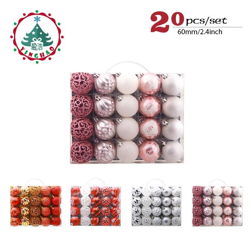 Inhoo 20 unids/set ornamento del árbol de Navidad Bolas de plástico de 6 cm de Navidad adornos de Navidad accesorios decoraciones para el hogar regalo