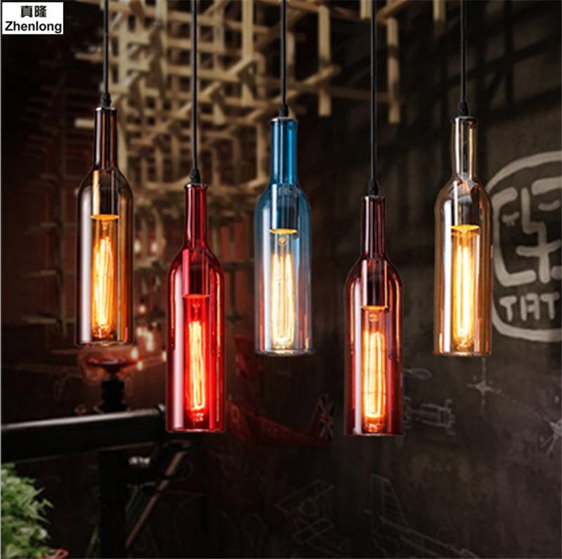Vintage Industrial Loft Colorful Red Wine bottle Glass Ceiling light Novelty Restaurant Cafe Bar Hanging lamps Hotel Bottle