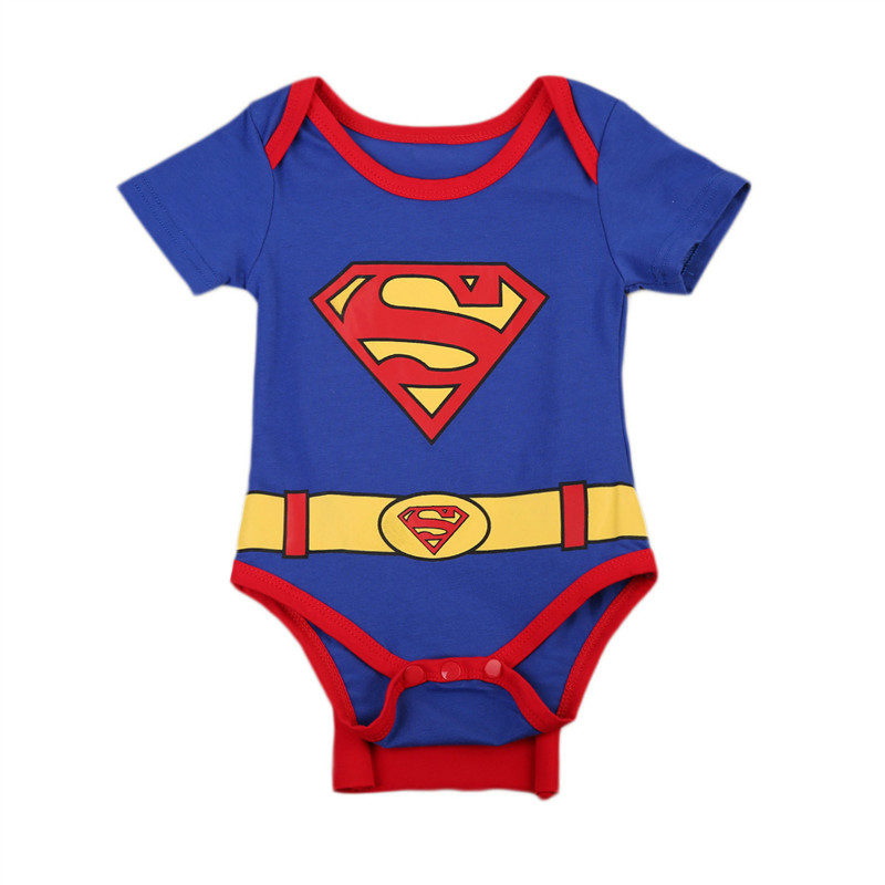 Pudcoco Baby Bodysuit Infant Jumpsuit Overall Short Sleeve Superman Body Suit Set Summer Cotton Baby Clothes