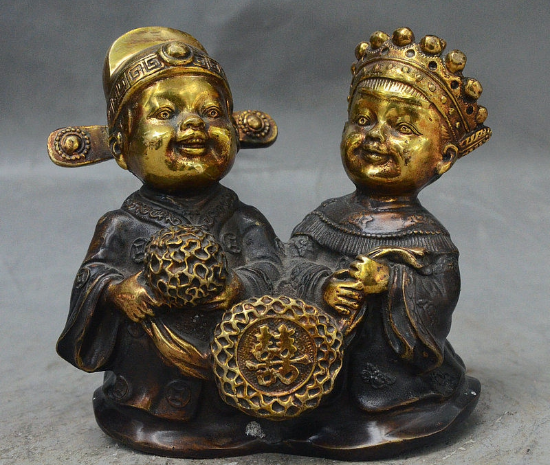 "5"" China Palace Bronze Gilt Wealth Auspicious Boy Girl Bride groom Lucky Statue"