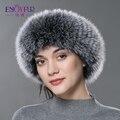 ENJOYFUR mulheres Outono Inverno protetor de ouvido headband do cabeça de pele real fox fur scarf quente 2016 novas mulheres de pele de malha headwarps