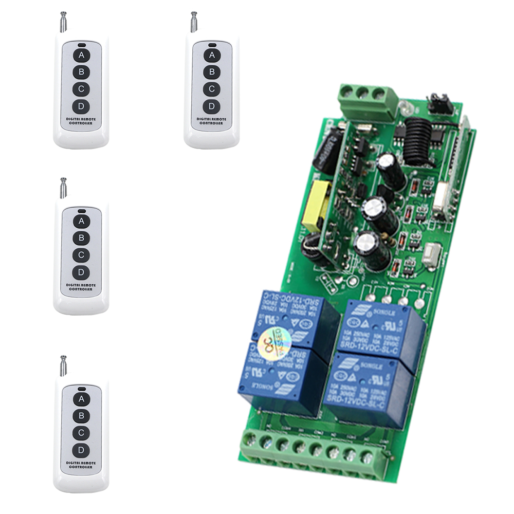 New 4CH Smart Home Relay RF Wireless Remote Control System Motor / Electric Door Learning Code Receiver Wide Voltage 85V-250V