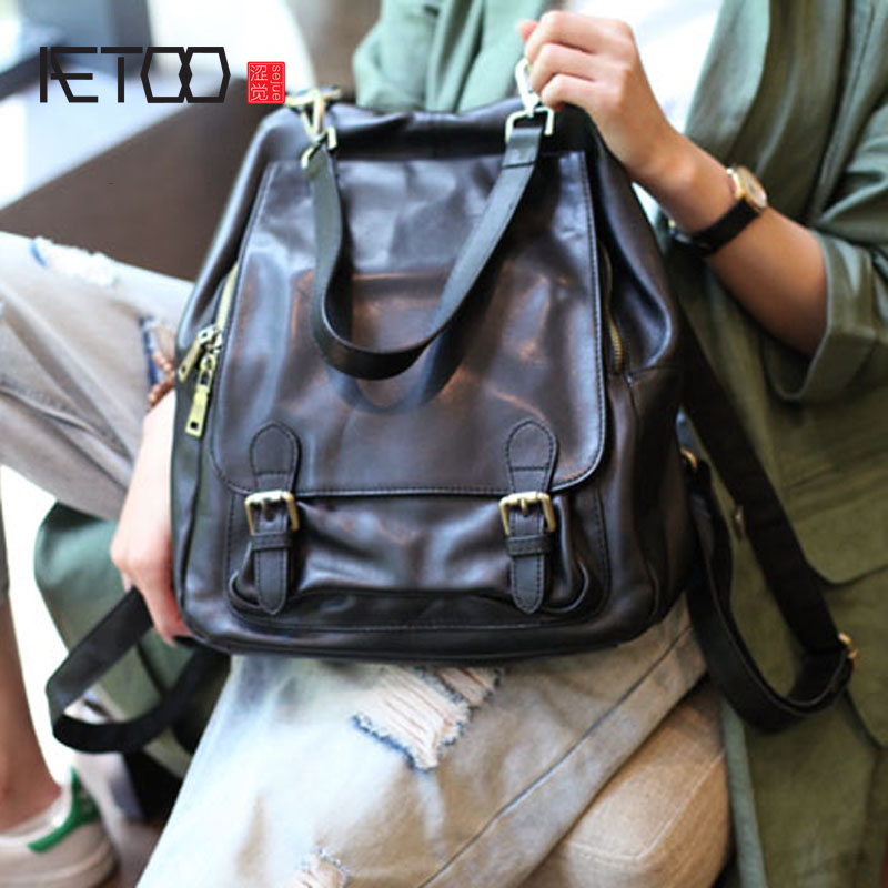 AETOO Black Suede Leather Shoulder Bag Can Carry Female Large Capacity New Korean Soft Leather Leather Motorcycle Backpack