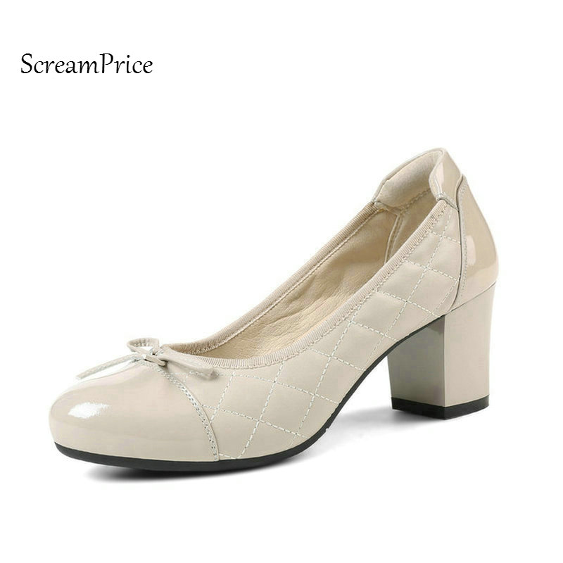 Genuine Leather Comfort Thick High Heel Woman Lazy Pumps Fashion Bow Knot Dress High Heel Shoes Spring Autumn Shoes Woman Black choudory fashion round toe women genuine leather pump high wedge heel sweet butterfly knot pumps spring autumn back zipper shoes