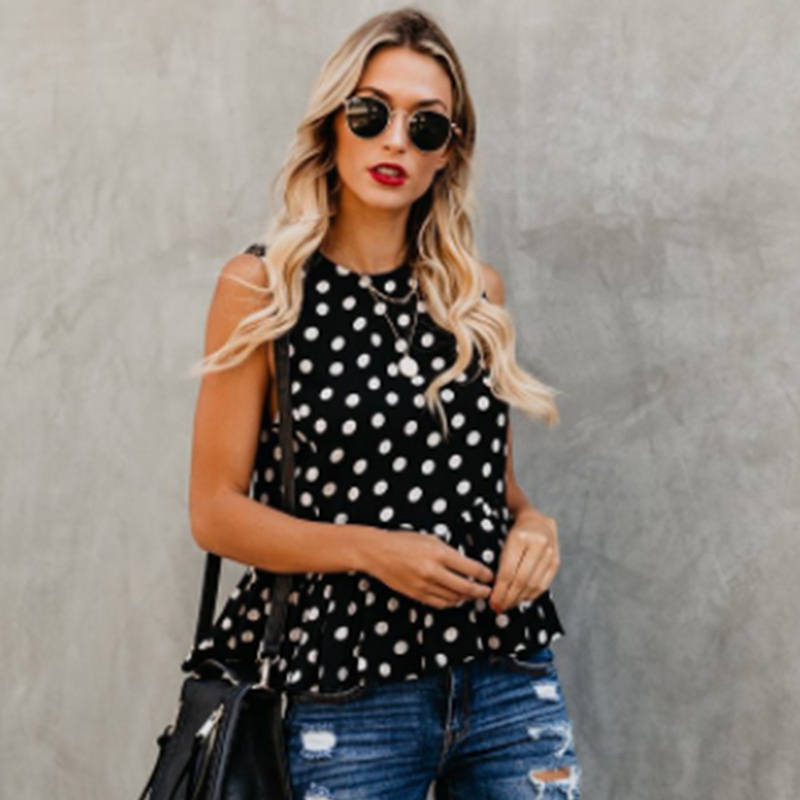 Ladies Tops Off-Shoulders Top-Camiseta Tops-De-Mulher Point-Print Femme Fashion Women Sleeveless