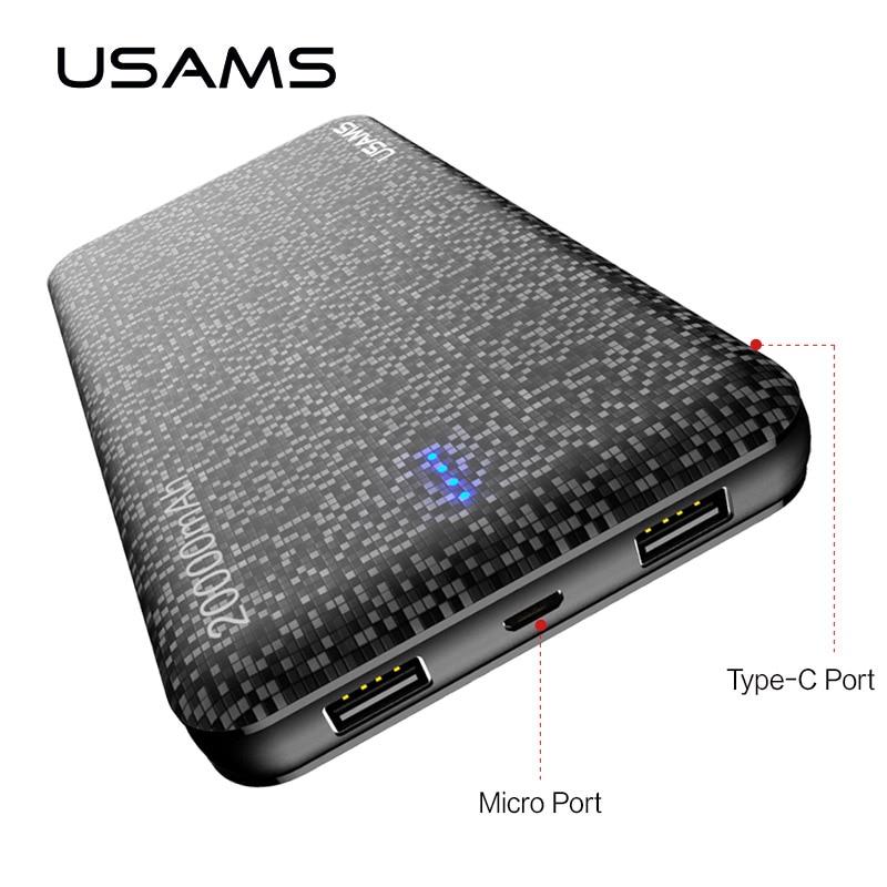 USAMS Universal 20000mAh power bank Portable Battery Mobile PowerBank USB Charger for Xiaomi power bank for Samsung