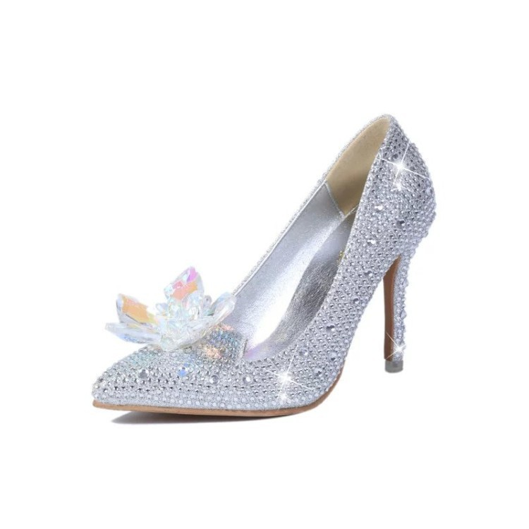 Rhinestone Cinderella Shoes Wedding For Women High Heels Crystal Adults Decoration  Glass Pumps Party Casual Sapato 0eff74944e8b