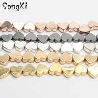 5x6mm Wholesale Love Heart Gold Black Hematite Loose Spacer Beads for Jewelry Making Natural Stone Bead Diy Necklace Bracelet