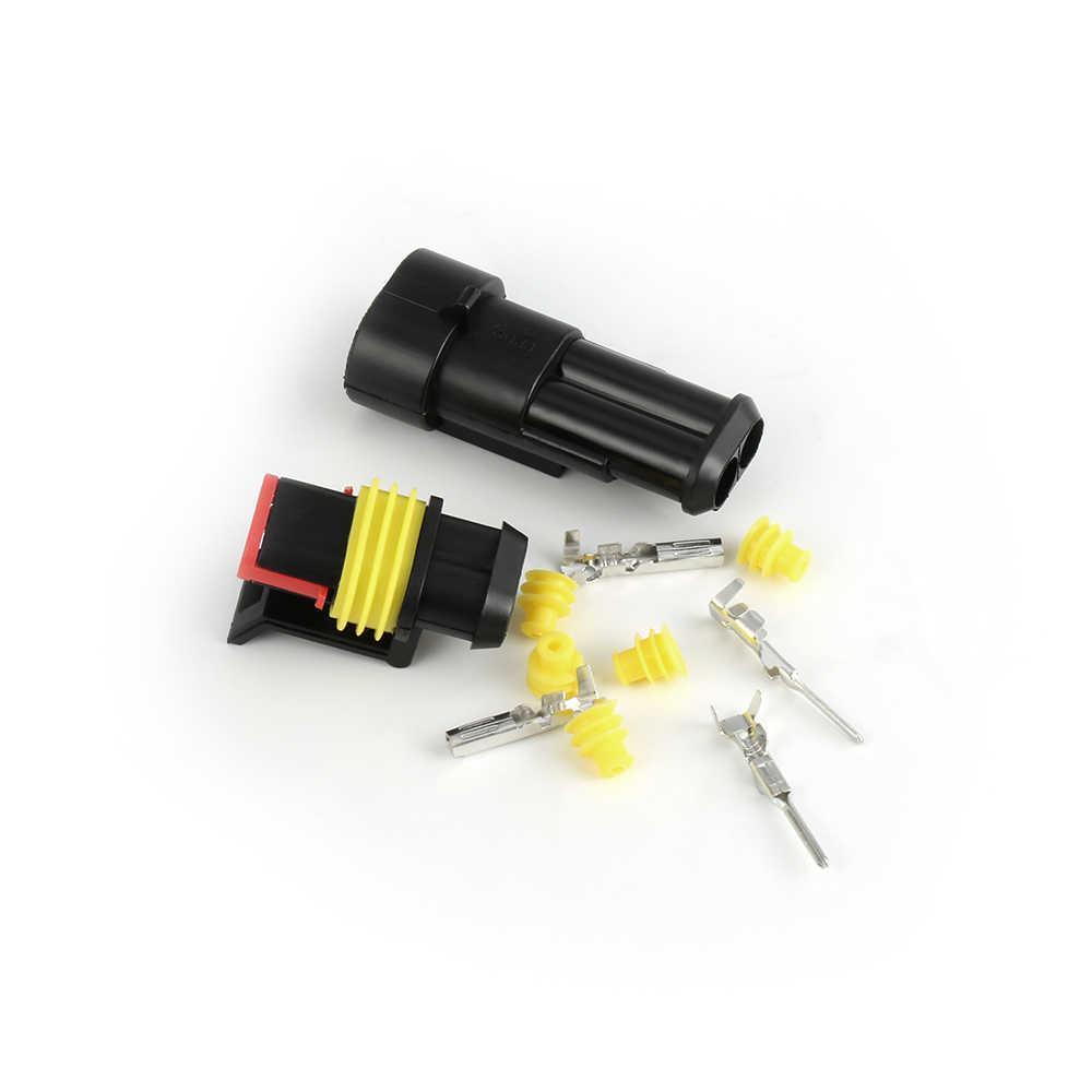 2 takım Alev geciktirici su geçirmez otomotiv teli Konnektör Fişi 2 Pin elektrikli araba Motosiklet Evrensel konektör kiti