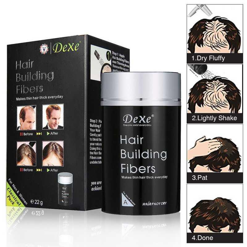 22g pelo marrón oscuro fibra de construcción recarga extensiones de peluca humana fibras de pelo Natural tratamiento polvo Delgado recrecimiento productos