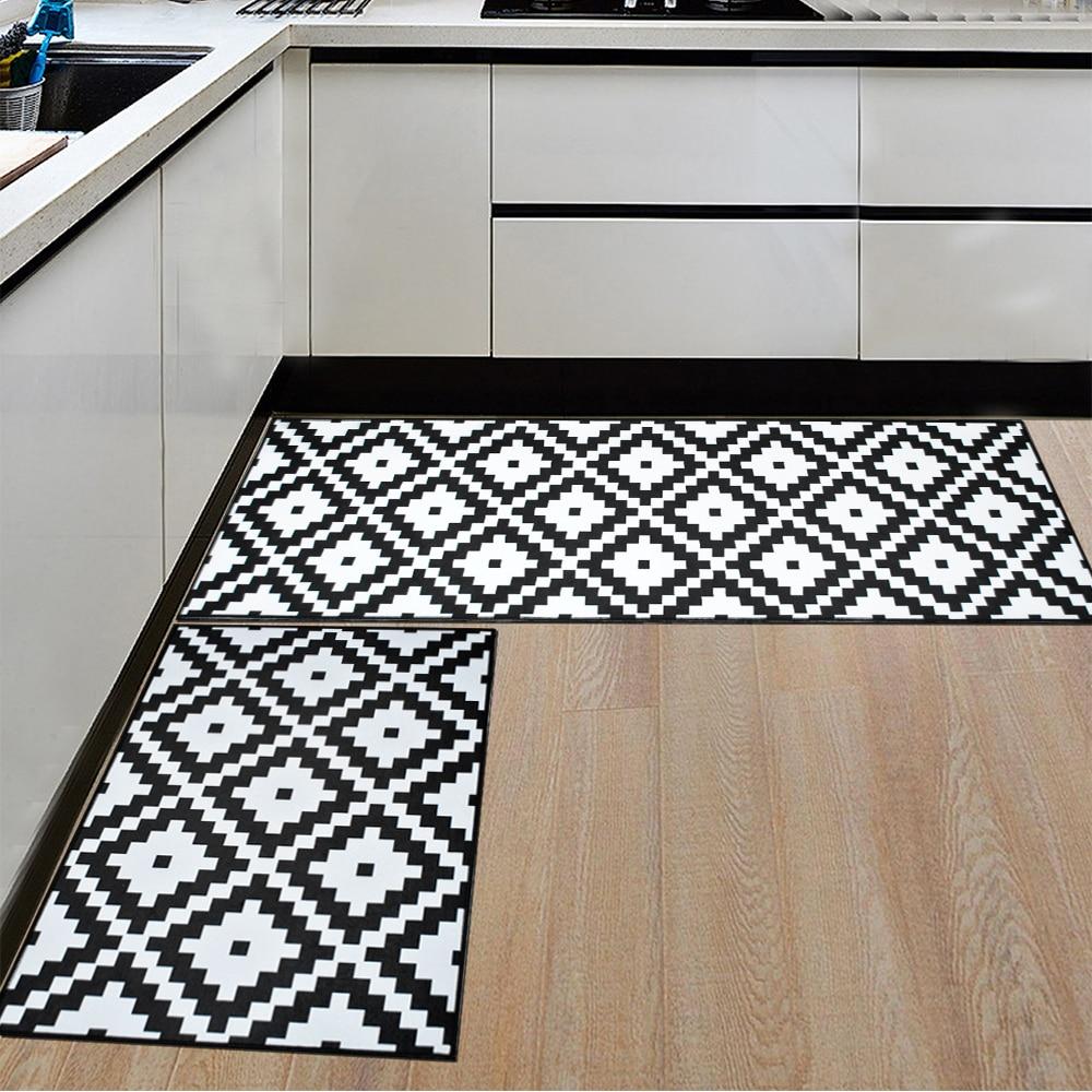 Black And White Geometric Kitchen Rug: Black White Geometric Printing Kitchen Area Rug Nordic