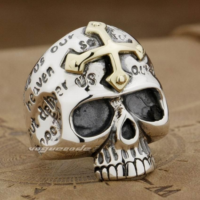 Латунь крест 925 стерлингового серебра череп Мужская Байкер кольцо 9g001 мужские ювелирные изделия US Размеры 8 до 13