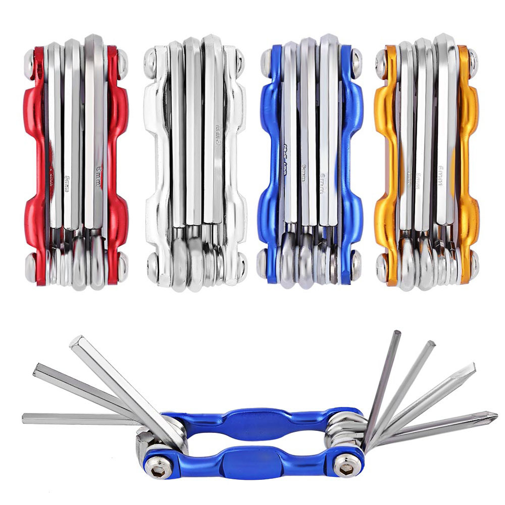 7 In 1 Mini Multifunction Bicycle Repair Stand Tool Kit Mountain Tools Bike Cycling Folding Screwdriver Hexagon Wrench 4 Color