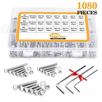 M2 M3 M4 1080PCS Stainless Steel Screws and Nuts Hex Socket Head Cap Hex Socket Screws Bolts With Hex Nuts Washers Assortment