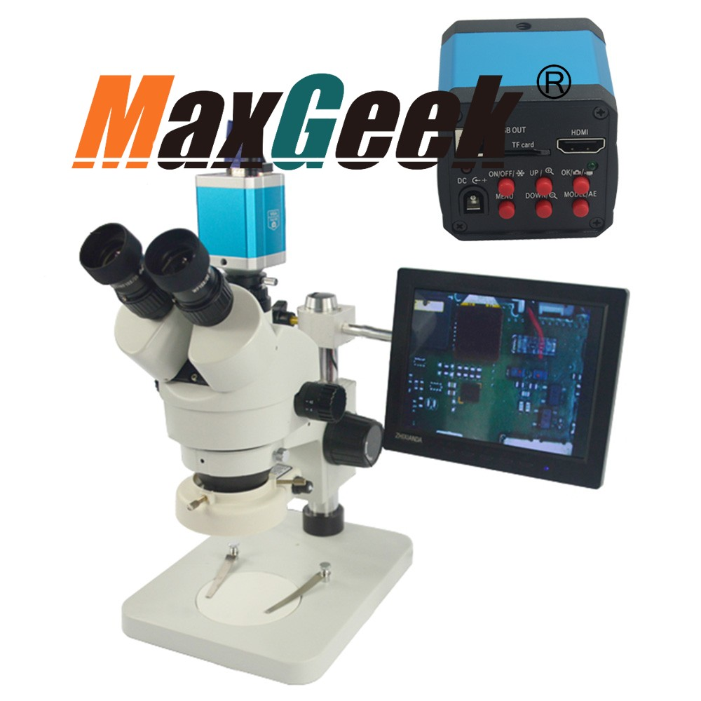 7X 45X Trinocular Industry Zoom Stereo Microscope with 14MP HD Camera DVR C Mount