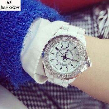 974112fb6d5 BS Marca Quartzo Mulheres Relógios Top Famosos Luxo Casual Relógio de Senhoras  Pulseira de Cerâmica relógios de Pulso Relógio Feminino Relogio feminino