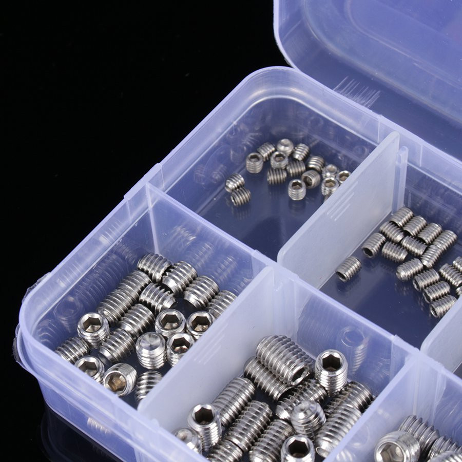 200 pieces / set flat head screw classification box M3 M4 M5 M6 stainless steel hex wrench hex set 4pcs set hand tap hex shank hss screw spiral point thread metric plug drill bits m3 m4 m5 m6 hand tools