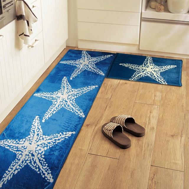 Yazi Mediterranean Style Blue Starfish Kitchen Floor Mat Rug Plush Anti Slip Bedroom Doormat Home Decor