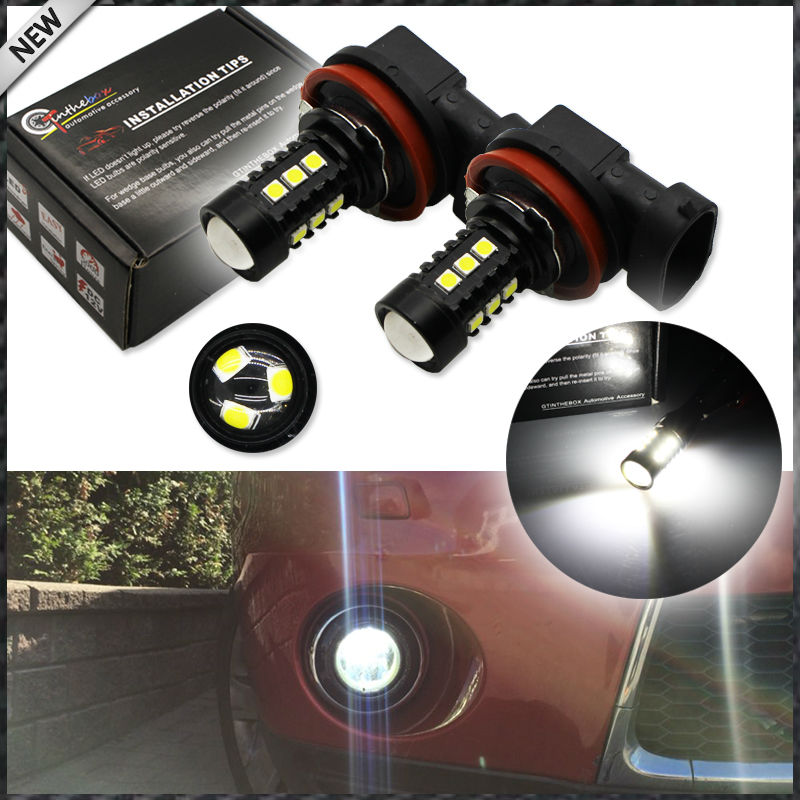 2pcs 6000K Xenon White 15 SMD 3030 Powered by LED H8 H11 H9 LED Bulbs For Fog Lights or Daytime Running Lights