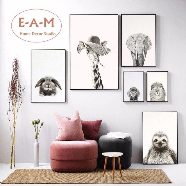 Schwarz Und Weiß Lustiges Tier Leinwand Kunstdruck Malerei Poster  Wandbilder Für Kinderzimmer Home Dekorative Schlafzimmer Decor