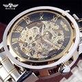 Vencedor de Luxo Da Marca Dos Homens Do Esporte Militar Relógios Homens de Ouro Esqueleto Relógio Mecânico Automático Prata Relógio De Aço Inoxidável completo