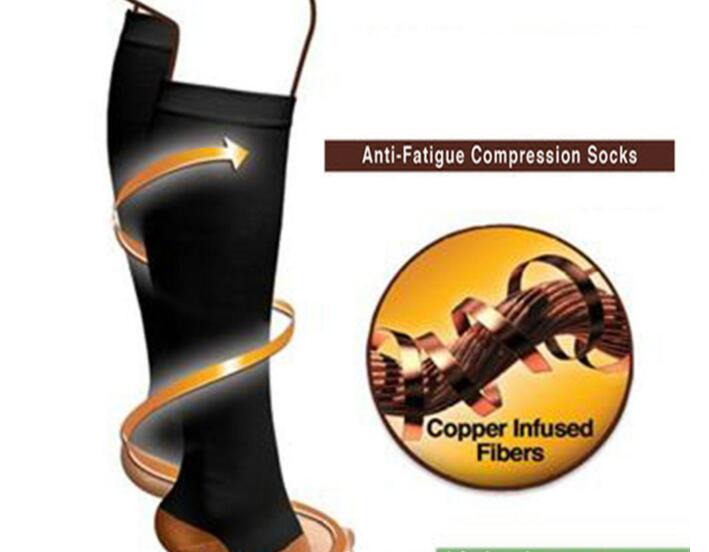 Miracle copper socks as anti-fatigue compression socks for anti-varicosity soothe achy leg reduce swelling slimming leg socks