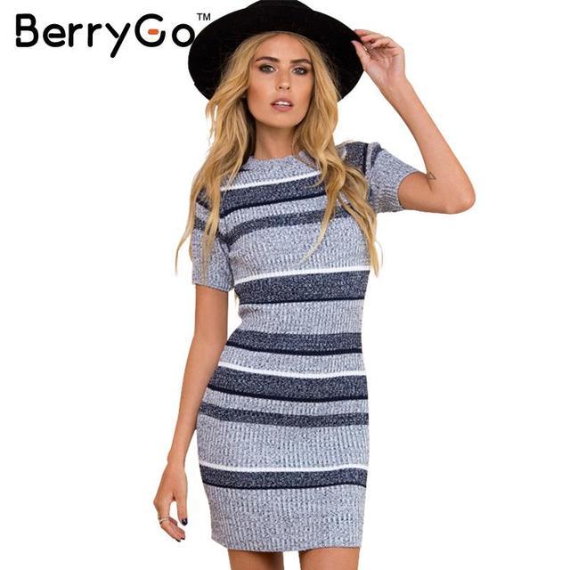 BerryGo Сексуальная трикотажные синий полосатый bodycon dress Осень зима с коротким рукавом женщин dress 2016 Элегантный вечер сексуальные платья