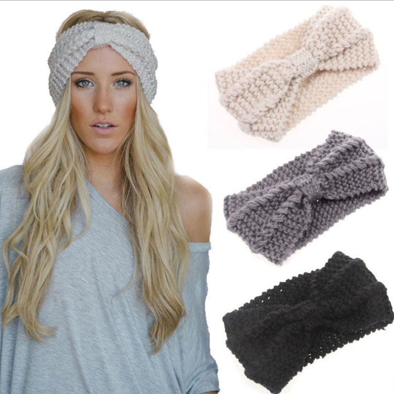 1piece fashion headbands winter women handmade Turban Crochet Knitted Hairband Headwrap bow ear warmer girls hair