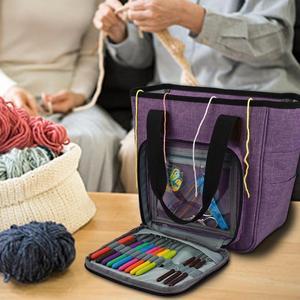Image 5 - Saco de tricô fio portátil tote saco de armazenamento para lã crochê ganchos agulhas de tricô costura organizador suprimentos diy crochê saco