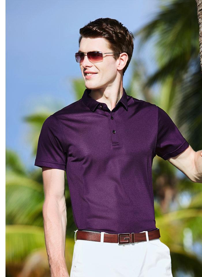 Printemps et D'été En Soie t-shirt manches courtes Hommes D'affaires Turn-col de Soie polo Loisirs En Soie de Glace t-shirt