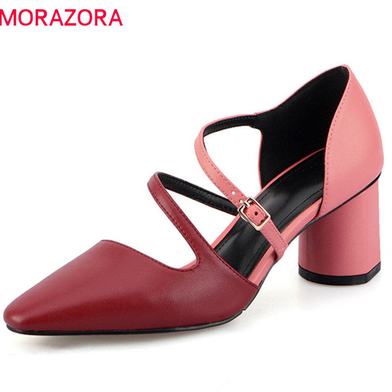 MORAZORA 2019 top quality pumps women shoes genuine leather summer shoes buckle fashion square high heels