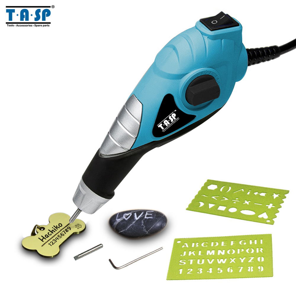 TASP 220V Electric Engraver Metal Engraving Pen - Carbide Steel Tips For Steel Wood Plastic Glass Hobby Power Tools -MEGV13