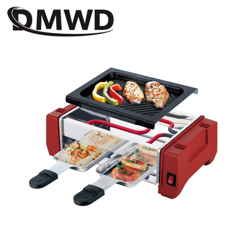 DMWD Electric Raclette Grill Double Layers Smokeless Griddle Non-Stick BBQ Pan Bakeware Skewer Outdoor Barbecue Machine EU plug 1200w 220v non sticky family barbecue electric raclette grill smokeless grill raclette grill electric griddle