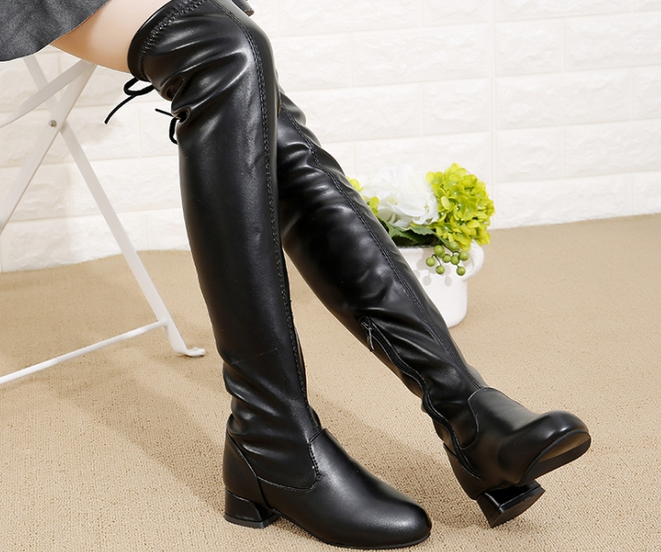 2019 Autumn And Winter Models Girls Knee Boots Boots Leather High High-cut Solid Color Black Big Children's Princess Boots