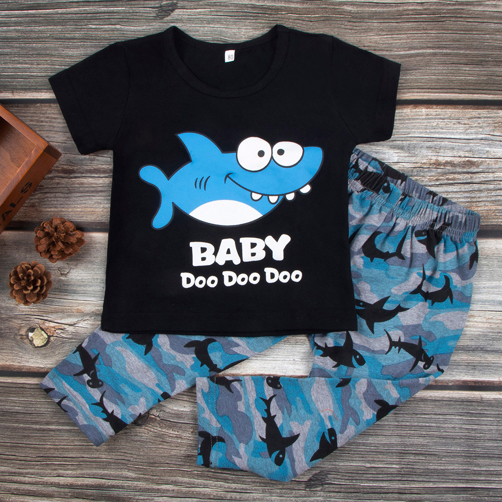 Autumn Kids Camouflage-Pants Toddler Outfits Shirt Printed Baby Boy Cartoon Tops Tops