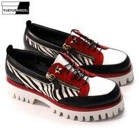 Обувь на платформе из натуральной кожи; мужские дизайнерские кроссовки на двойной молнии; повседневные Лоферы ручной работы на шнуровке; му