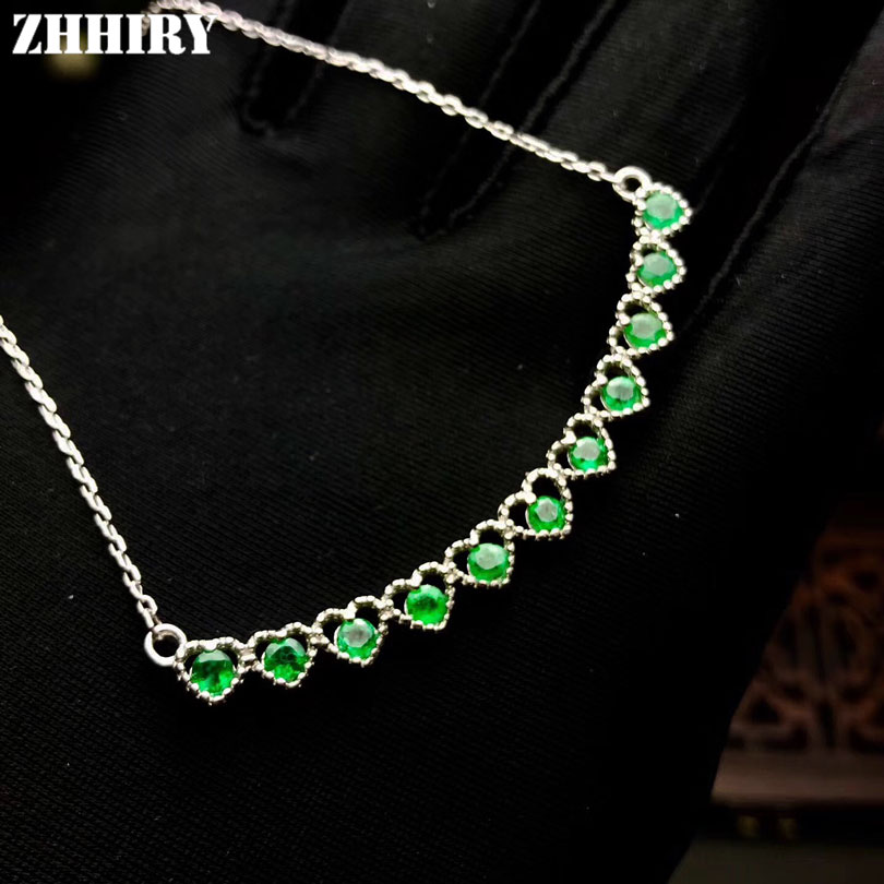 ZHHIRY Genuine 925 Sterling Silver Green Emerald Necklace Pendant Real Natural Gem Stone Fine Jewelry 2 3mm red natural agate necklace multi layers 925 sterling silver with real pearl fine womne jewelry wedding party necklace