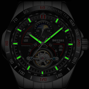 Image 4 - BOYZHE Mens Automatic Mechanical Fashion Top Brand Sports Watches Luxury Tourbillon Moon Phase Stainless Steel Watch Clock saat