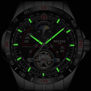 Image 4 - BOYZHE hommes automatique mécanique haut tendance marque montres de sport de luxe Tourbillon Phase de lune en acier inoxydable montre horloge saat