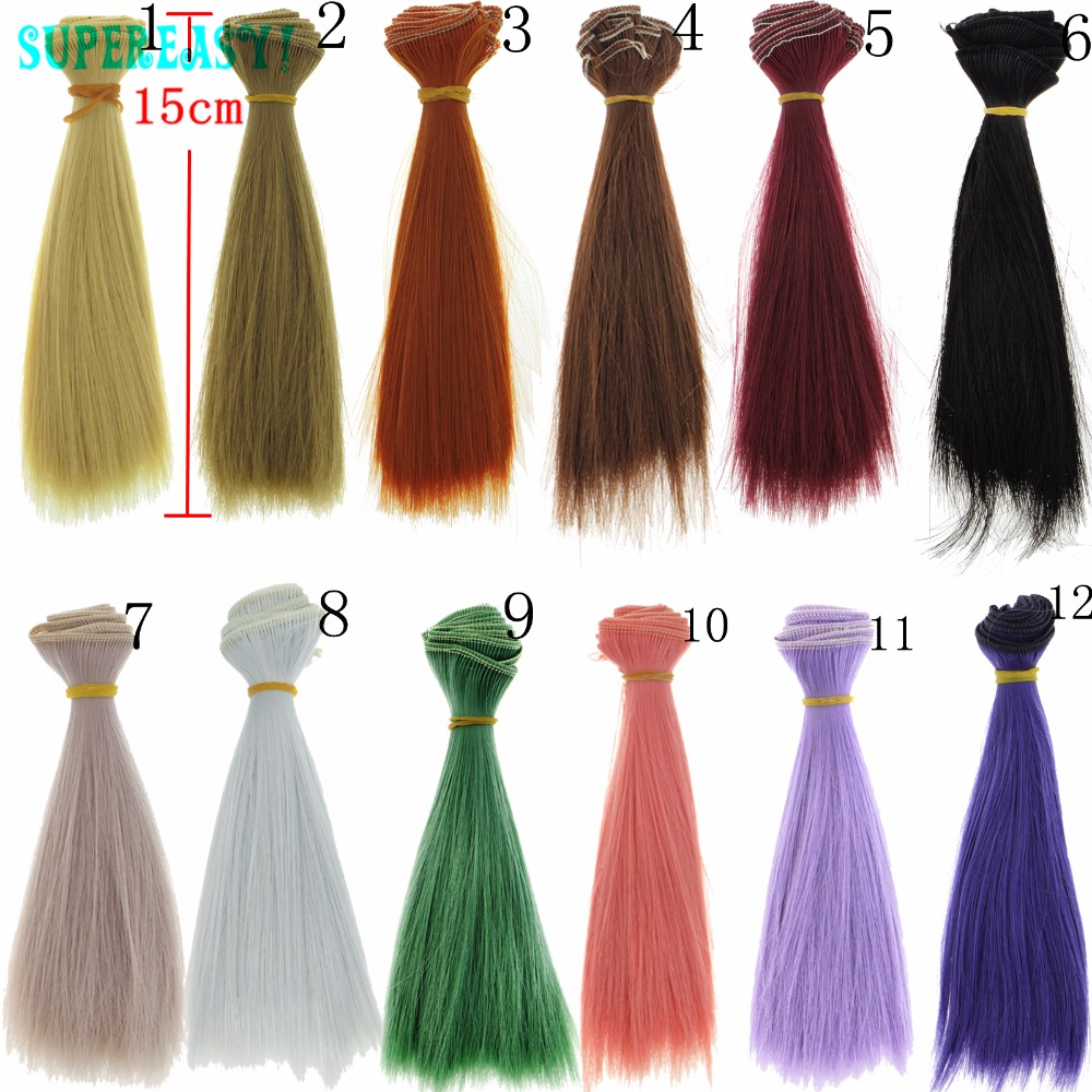 1pcs 15CM*100CM Hand Make BJD Wigs Multicolor Fashion High Temperature Straight Wig Hair 1/3 1/4 BJD For Barbie DIY fashion black hair extension fur wig 1 3 1 4 1 6 bjd wigs long wig for diy dollfie
