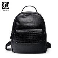 Pu Leather Backpacks For Girls Rivet Casual Women 39 S Backpack Black Backbag For Teens Multifunctional
