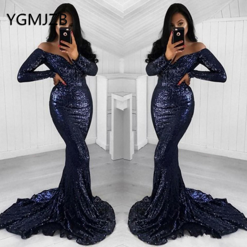 Gala Jurken 2019 Shiny Sequined Long Prom Dresses with Full Sleeve V Neck Off the Shoulder Evening Gown Women Formal Party Dress